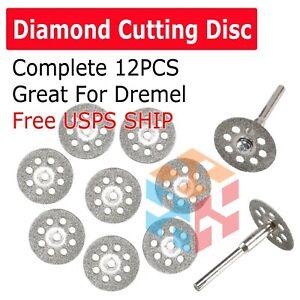 12PCS Dremel Diamond Cutting Disc cut off wheel Mini Saw Blade Tool Set 30mm