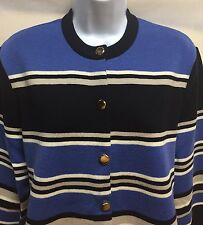 Jaeger 100% Wool Cardigan Sweater, Striped, Great Britain, Size Large EUC