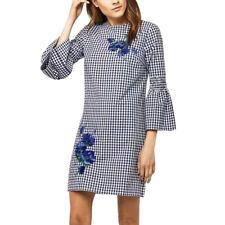 Lady Shirt Short Mini Embroidery Dress Long Sleeve Checks Plaids Slim Casual Top