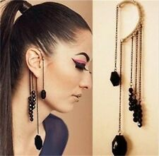 Cool Rock Punk Exquisite Black Beads Long Tassels Ear Cuff Earrings