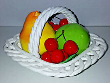 VINTAGE ITALY CERAMIC ART HAND CRAFTED ITALIAN Square WOVEN BASKET WITH FRUIT