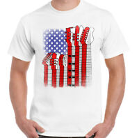 American Guitar Flag Mens Funny Guitarist T-Shirt Acoustic Bass Electric Amp