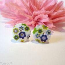 Perlmutt Muschel Ohrstecker *Knopf im Ohr* Edelstahl Ohrringe Blaue Blumen Blüte