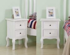 WestWood 1 Pair Vintage Bedside Cabinet Table 2 Drawers Storage BCU12 White