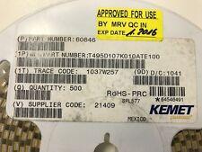 500x KEMET T495D107K010ATE100 , CAP TANT 100UF 10V 10% 2917, FULL TAPE