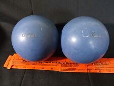 "2 Collectible Blue Cyclones 4 7/8"" Duckpin Bowling Balls Weigh 3 lbs 8 oz"