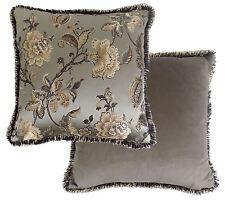 de lujo Marrón Dorado Floral Flores Papel bordado Fruncido Funda cojín 55.9cm