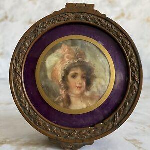 Vintage French Bronze Ormolu Painted Lady Portrait Antique Casket Trinket Box