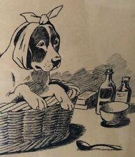 More details for antique drawing beagle basset hound dog painting signed and framed