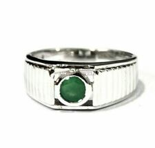 Natural Emerald Gemstone with 925 Sterling Silver Ring for Men's AJ731