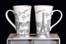2 Black & White 222 Fifth BonJour EIFFEL Tower Paris Large Flare Latte Mugs NIB