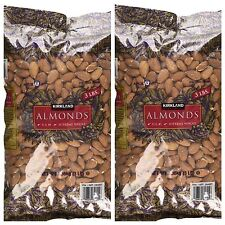 TWO Kirkland Whole Almonds 3 lb Bags Raw Almonds Fresh EXPEDITED SHIP