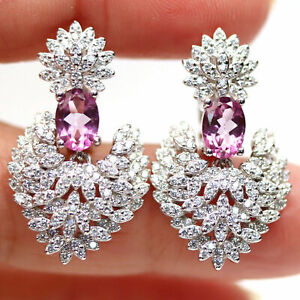 NATURAL 5 X 7 mm. PINK MYSTIC TOPAZ & WHITE CZ 925 STERLING SILVER EARRINGS