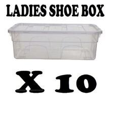 Caja de Plástico Transparente 10X Señoras Zapatos Cajón almacenamiento Apilable Transparente Unidad
