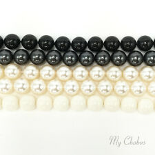 50 pcs Swarovski 5810 4mm Crystal Round Pearls Beads BLACK & WHITE Colors Mix