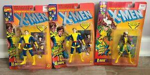 Lot of 3 1994 Marvel X-Men Figures (2) Morph & (1) Rogue New on Damaged Cards