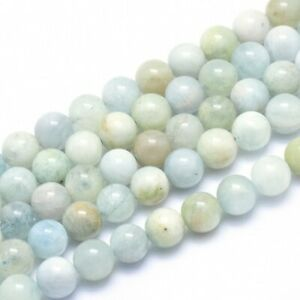 Natürlicher Aquamarin Perlenstrang 8 mm rund glatt glänzend (ca. 48 Perlen / ca.