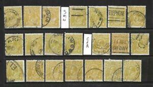 Stamps Australia Bulk KGV 4d Olive Heads  x 21 Good/Fine Used 3 wm's