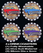 4 x HOLDEN HQ 1971 PREMIER,  MOTOR CAR DRINK COASTERS - Fully Washable Re-usable