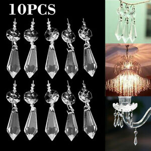 10X 38mm Clear Crystal Chandelier Lamp Icicle Prisms Parts Hanging Drop Pendant