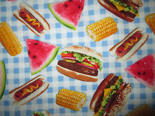 Hamburger Hotdog Corn Watermelon Picnic Blue Checked Cotton Fabric BTHY