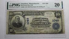 $10 1902 Amesbury Massachusetts MA National Currency Bank Note Bill #1049 VF20