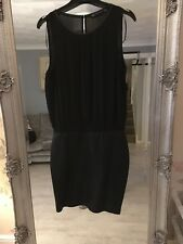 Zara Dress In Black Faux Leather Skirt with Chiffon Top Size M 10/12