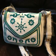 Isabella Fiore Moroccan Embroidery Purse Handbag New Teal Blue And White Leather