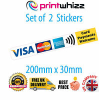 2x Card Payments Welcome Credit Card Sticker Contactless Printed Vinyl Shop Taxi