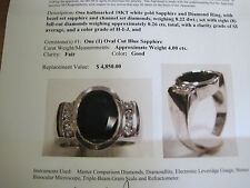 #143 mans 18K white gold 4ct.genuine   blue sapphire 8 diamond ring