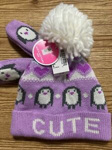 The Children's Place Girl Purple Winter Hat And Mittens Penguin Size 12-24 Mos
