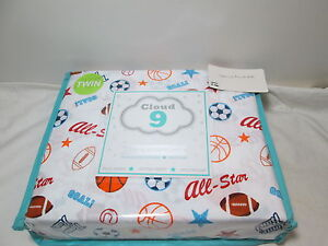 Cloud 9 HOME RUN! ALL-STAR! GOAL! Twin Sheet Set ~ All Sports Balls Multi Colors