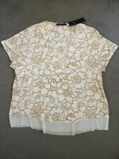 M&S IVORY TOP WITH V.NECK & CAP SLEEVES WITH FLORAL TAN DESIGN & SHEER EDGES-18