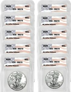 2020 Silver Eagle MS70 ICG S$1 Initial Release Flag Tag Pre-Sale 10 Coin Lot