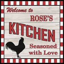 ROSE'S Kitchen Welcome to Rooster Chic Wall Art Decor 12x12 Metal Sign SS77
