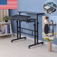 Rolling Height Adjustable Laptop Desk Table Standing Up Office Workstation Study