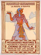 Marseille Alexandrie Egypt France Ship Vintage Travel Art Advertisement Poster