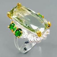 Design Jewelry Natural Green Amethyst 925 Sterling Silver Ring Size 8/R94134