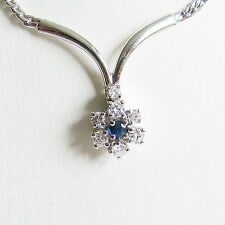 Collier Gold 585er Saphir Brillanten Halskette 14 kt. Safir Halsschmuck