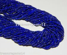 """3-4 mm. 100% NATURAL BLUE LAPIS LAZULI ROUNDLLE FACETED UNTREATED BEAD 13""""STRAND"""