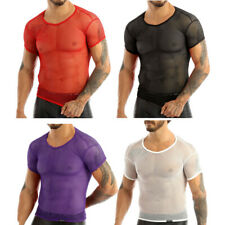 US Men Mesh T-shirt Gym Training Tank Tops Fish Net Tee Shirts Sports Clothing
