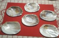 VINTAGE ♡SET OF 6  LARGE POLISHED OYSTER SHELL MOTHER OF PEARL APPETIZER DISHES