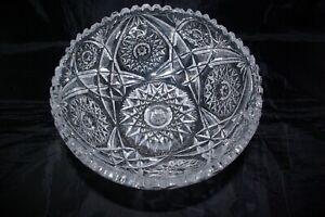 Czech Bohemian Hand Made Pedestal Bowl Centrepiece Brilliant Cut Sawtooth Rim