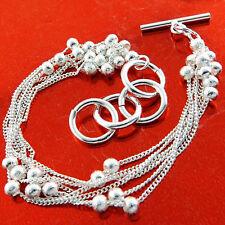 Bracelet Bangle Real 925 Sterling Silver S/F Ladies Tbar Bead Strand Design