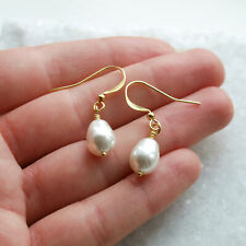 Pear Shaped Swarovski Pearl Drop Gold Earrings White - Dangle Hook - Ladies UK
