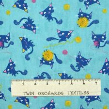 Flo's Friends Fabric - Cat & Yarn Toss on Aqua Blue - Makower UK YARD