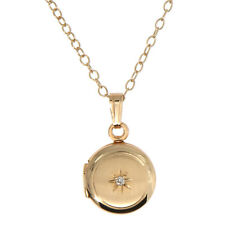 14kt Gold Filled Diamond Center Child Round Locket Necklace Baptism Gift