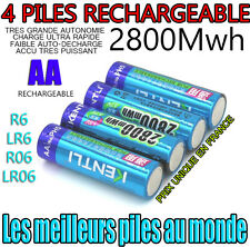 4 PILES ACCUS RECHARGEABLE AA 2800Mwh LITHIUM Li-ion 1.5V KENTLI R6 R06 LR06 LR6