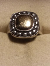 JAMES AVERY, SQUARE BEADED DOME RING, .925/14K. SIZE 7.25, RETIRED!!! (18003790)