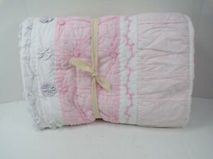 Pottery Barn Kids Bailey Ruffle Reversible Percale Quilt Pink Multi #6246